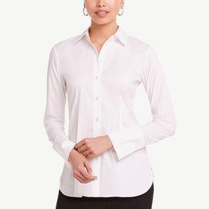 Ann Taylor white button down fitted dress shirt